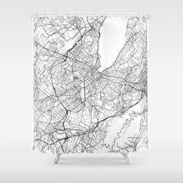 Geneva Map White Shower Curtain