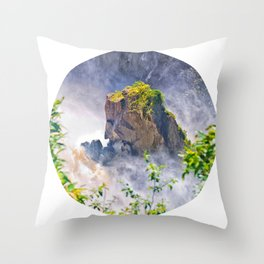 Rock in the falls Throw Pillow