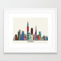 cleveland Framed Art Prints featuring Cleveland city  by bri.buckley