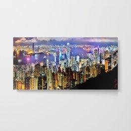 Hong Kong City Skyline Metal Print