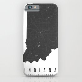 Indiana Mono Black and White Modern Minimal Street Map iPhone Case