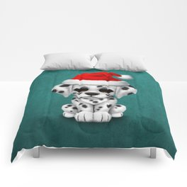 Christmas Dalmatian Puppy Dog Wearing a Santa Hat Comforters