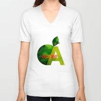 apple V-neck T-shirts featuring apple by John Beswick