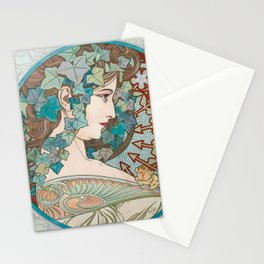 Ivy Laurel by Alphonse Mucha Stationery Cards