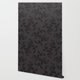 Venetian Damask, Ornaments, Swirls - Gray Black Wallpaper