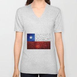 Flag of Chile - Raindrops Unisex V-Neck