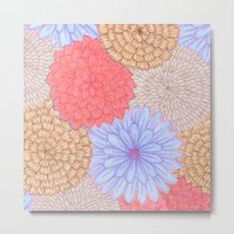 Watercolor Bouquet - Periwinkle Peach Metal Print