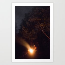 Night by campfire Art Print