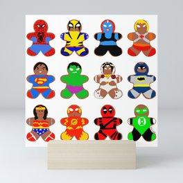 Superhero Gingerbread Man Mini Art Print