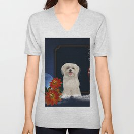 Cute little havanese puppy with flowers Unisex V-Neck