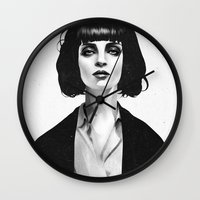 black and gold Wall Clocks featuring Mrs Mia Wallace by Ruben Ireland
