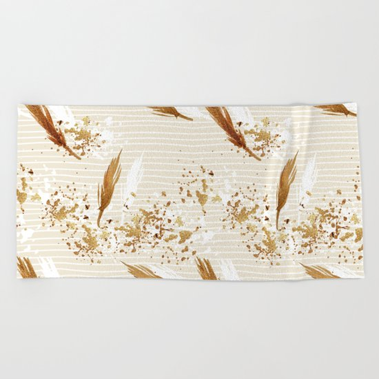 Feather peacock gold #3 Beach Towel