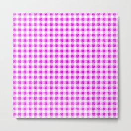 Gingham Pink and White Pattern Metal Print