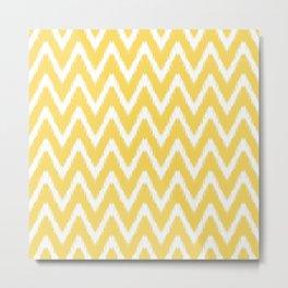 Pale Yellow Asian Moods Ikat Chevrons Metal Print