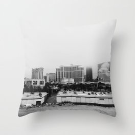 Back Side of the Bellagio // Las Vegas Strip City Landscape Cloudy Snow Day Foggy Raw Photograph Throw Pillow