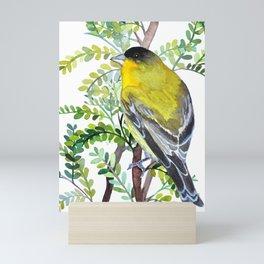 Lesser Goldfinch Bird Watercolor Art Mini Art Print