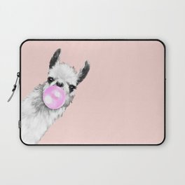 Bubble Gum Black and White Sneaky Llama in Pink Laptop Sleeve