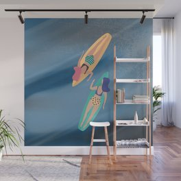 Surf Sisters - Muted Ocean Color Girl Power Wall Mural