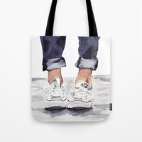 converse Tote Bags featuring Converse by Bridget Davidson