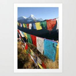 Tibetan prayer flags in Himalaya mountains Art Print