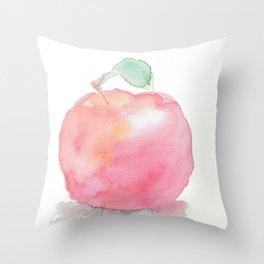 Watercolor Apple Throw Pillow