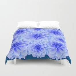 BLUE-WHITE DAHLIA FLOWERS IN  TEAL COLOR Duvet Cover