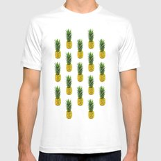 Pineapple Pattern MEDIUM Mens Fitted Tee White