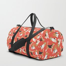 beagle scatter coral red Duffle Bag