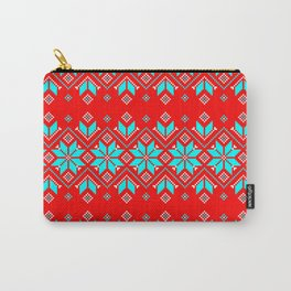 Wellspring - Star Alatyr - Ethno Ukrainian Traditional Pattern - Slavic Symbol - Lazure Blue White on Red Carry-All Pouch