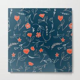 Orange pink pastel navy blue modern floral Metal Print
