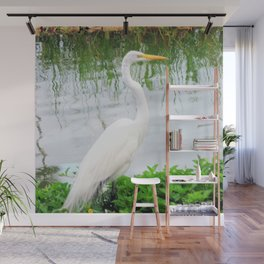 The Great White Egret:) (pointillism) | Large White Bird | Nature Photography Wall Mural