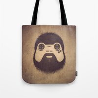 playstation Tote Bags featuring The Gamer by powerpig