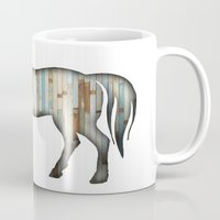 wooden Mugs featuring Wooden horse by Vin Zzep