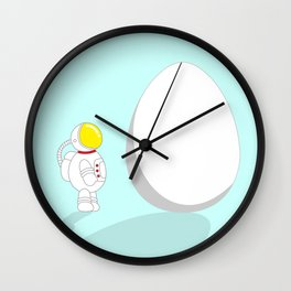Space Odyssey | Astronaut vs. Egg | Cute Astronaut | pulps of wood Wall Clock