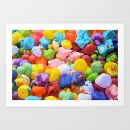 Rainbow Rubber Ducks Art Print