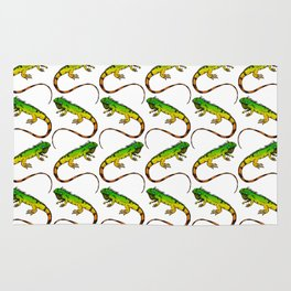 Green Iguana Reptile Lizard Pattern Rug