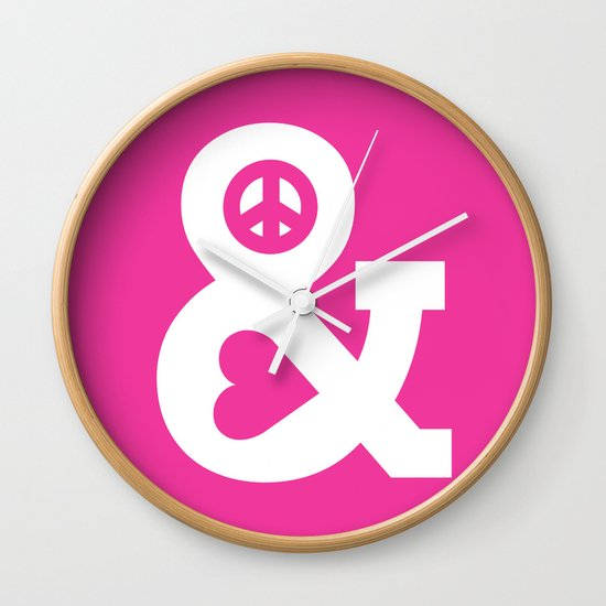 Peace and Love (pink edition) Wall Clock