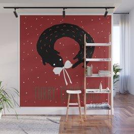 Furry Christmas greeting card Wall Mural