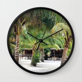 Bungalows on Palm Beach Wall Clock