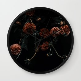 Bronze Dahlias Wall Clock