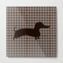 Houndstooth Brown and Grey w/ Dachshund Metal Print