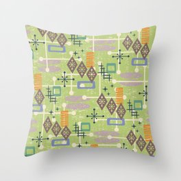 Retro Mid Century Modern Atomic Abstract Pattern 244 Throw Pillow