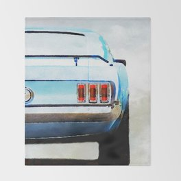 Vintage Ford Mustang in watercolor Throw Blanket