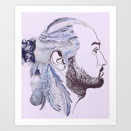 blue-feathered man bun  Art Print