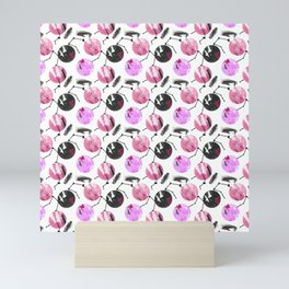 Modern hand painted pink lavender black geometrical brushstrokes Mini Art Print