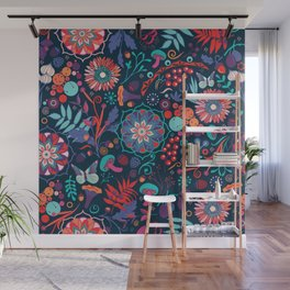 Ripe autumn – cyan and red Wall Mural