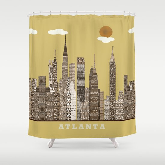 Atlanta city vintage Shower Curtain