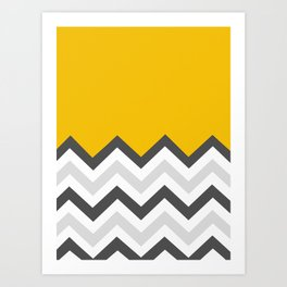 Color Blocked Chevron 17 Art Print