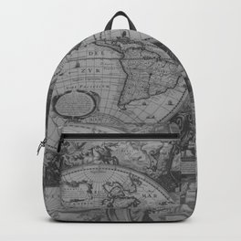 Antique Gray Map Backpack