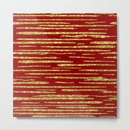 Gold and red abstract lines pattern Metal Print